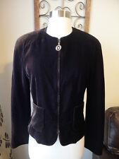 VALENTINO Miss V Brown Crushed Velvet Cropped Zipped Jacket Blazer Size 42 8