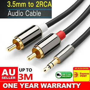Black 3.5mm Male Jack to 2 RCA Male AUX Stereo Analog Audio Y Adapter Cable Cord