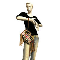 Raviani Fringe wristlet Bag in Leopard Hair on Cowhide Leather & Pink Navajo