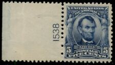 US #304, 5¢ Lincoln blue, Plate No. Single, og, NH, XF