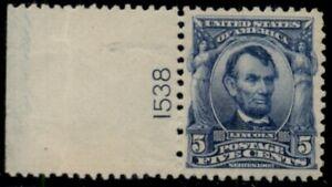 US #304, 5¢ Lincoln blue, Plate No. Single, og, NH, XF