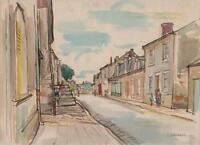 ENGLISH STREET Watercolour Painting R RUSSELL 1959 IMPRESSIONIST