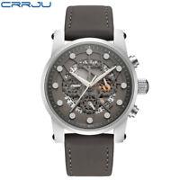 CRRJU Fashion Skeleton Quartz Watch Stainless Steel Hollow Analog Wrist Watches