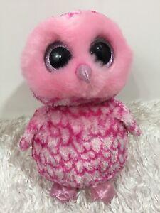 "TY Beanie Boos Pinky OWL 2014 Pink Glitter Eyes Plush Stuffed Animal 10-11"""
