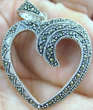 100% Real 925 Sterling Silver big marcasite open love heart pendant