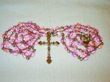 PINK AB GLASS BIRTHSTONE ROSARY W. MADONNA CENTERPIECE