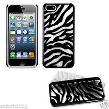 APPLE iPHONE 5 HARD ZEBRA FUSION HYBRID CASE SKIN COVER ACCESSORY BLACK/WHITE