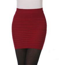 Sexy Women Mini Skirt Clubwear Short Pencil Slim Pleated Bodycon Dress Wine Red