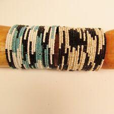 Set of 2 Black Beige Wide Color Block Beaded Cuff Handmade Bracelet Glass Beads