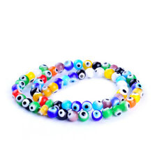 Round colors mixed evil eye beads lampwork glazed glass beads 64pcs/Lot 6mm