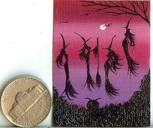 ORIGINAL 2x1.5 Acrylic Miniature Painting Witches Halloween Cauldron Art HYMES