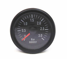 3 Bar Boost Gauge Petrol Diesel Turbo Black Rim / Face 52mm Mechanical BK Hose