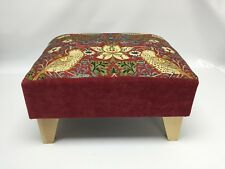 Footstool pouffe William Morris Red Strawberry thief light wood feet