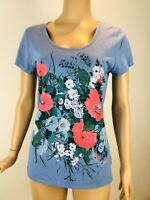 Womens LAURA ASHLEY Short Sleeve Top Size 12 Tee T-shirt Blue Floral Immaculate