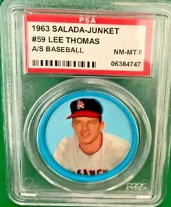 1963 Salada coin Lee Thomas #59 PSA 8 Los Angeles Angels