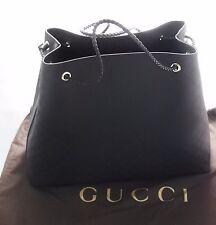 Gucci Women 380118 Nylon GG Guccissima Tote Bag Black Drawstring Italy Shopper