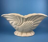 Haeger USA 3416 White Bowl Ceramic PLANTER Bowl Shell Design Marked