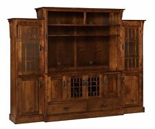 Amish Mission Arts & Crafts TV Entertainment Center Solid Wood Media Wall Unit