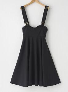 Women High Waist Suspender Skirt Adjustable Strap Black Swing Skirt 8 10 12 14