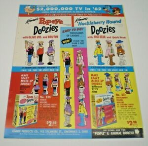 """Kenner's Original 1962 """" POPEYE DOOZIES & more"""" double sided Dealer sales flyer"""
