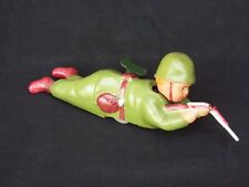 """Vintage Celluloid Windup Toy """"Sharp Shooter"""" Crawling Soldier Boy Occupied Japan"""