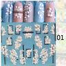 3D Acryl Engraved Nail Sticker Weiße rosa Blume Dekoration von Nagelkunst