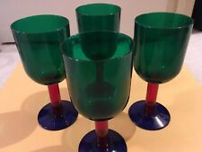 SET OF 6 WINE INDOOR / OUTDOOR MIXED COLORS PLASTIC WINE GLASSES