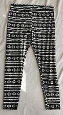 Primark Black and white Festive Fair Isle print leggings - Size Medium