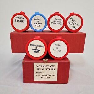 1960s CHILDREN/ TEACHER 35mm FILM STRIPS- History of New York - 6 ROLL BOXED SET