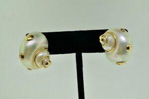 14K Yellow Gold Pearl Conch Shell Earrings