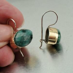 Hadar Designers Real Emerald Earrings Handmade 9k Gold Sterling Silver (I e36)