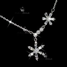 18k white gold gp made with SWAROVSKI crystal snowflake pendant necklace 43.5CM