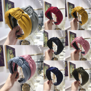 Women Solid Color Bohemian Knotted Wide Headband Satin Hair Hoop Hair Accessory