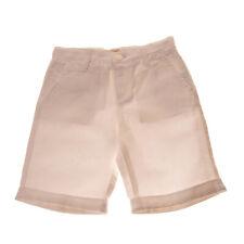 RRP €135 ARMANI JUNIOR Shorts Size 6Y Linen Blend White Textured Logo Metal