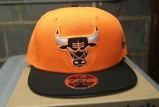 New Era NBA Chicago Bulls Adjustable Hat Logo Orange Black Flame Back