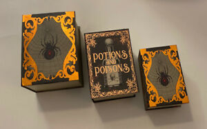 Set Of 3 Mixed Theme Halloween Nesting Book Boxes. New