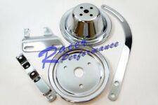 Sbc Chevy Chrome 1 Groove Short Pump Pulley Kit W/ Alternator Brackets 283 327