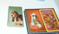 Estate 2 decks of Playing Swap cards Vintage Schnauzer Beagle Flowers