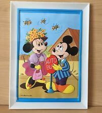 Vintage Mickey Minnie Mouse Walt Disney Plastic 3D Relief Picture Sealed Bus Bee