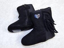 Stuart Weitzman 50/50 Fringe Infant baby boots 4 Black Leather