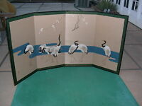 Japanese (Byobu) 4-Panel (Signed) Vintage Folding Screen of Cranes Painting-NICE