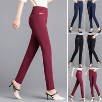 Womens High Waist Pencil Pants Bottoms Skinny Slim Fit OL Work Casual Trousers