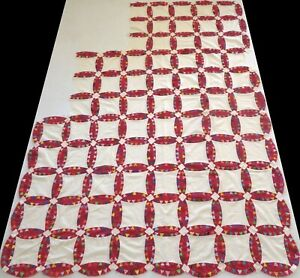 Unfinished Vintage 1940's Hand Stitched Red Pickle Dish Quilt Top 90x65