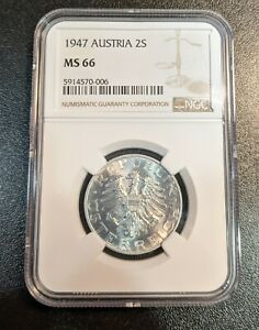 1947 MS66 Austria 2 Schilling NGC KM 2872 Top Pop 2/0! UNC Aluminum Coin