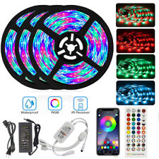 66FT Waterproof LED Strip Lights 5050 Music Sync Bluetooth Remote Room Light Kit