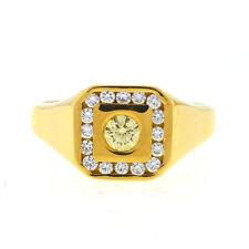 14kt Yellow Gold Sapphire Diamond Ring Mens