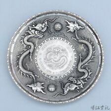 Collect China Old Miao Silver Hand-Carved Double Dragon Moral Bring Luck Dish