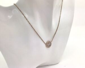 """Fossil Mother of Pearl CZ Rose Gold Tone Necklace, 17""""/44cm, RRP £55"""