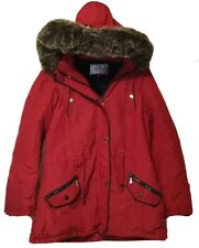 Snobbish Collection Red Winter Coat NWT Faux Fur Collar Zip And Snaps Waist Tie