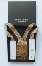 MICHAL TAHARLEV.DESIGNER NECKLACE.Woven gilt Metal,White textile,Leather.WOW